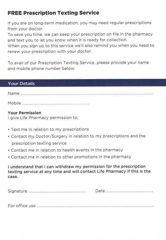 Prescription-Texting-Service-Form